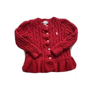Polo Ralph Lauren Cable Knit Red Cardigan Sweater